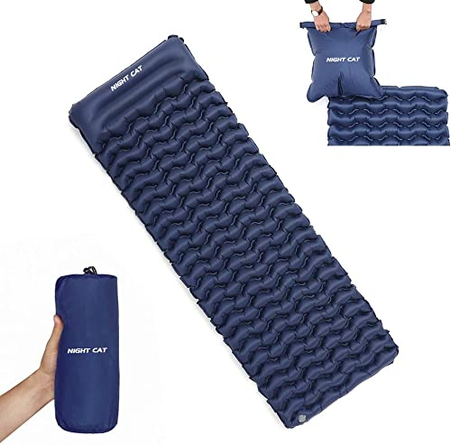 Night Cat Inflatable Sleeping Pads Mat Bed with Pillow and Air Bag for Camping, Backpacking Hiking Ultra-Light, Compact, Comfortable, 75 x25