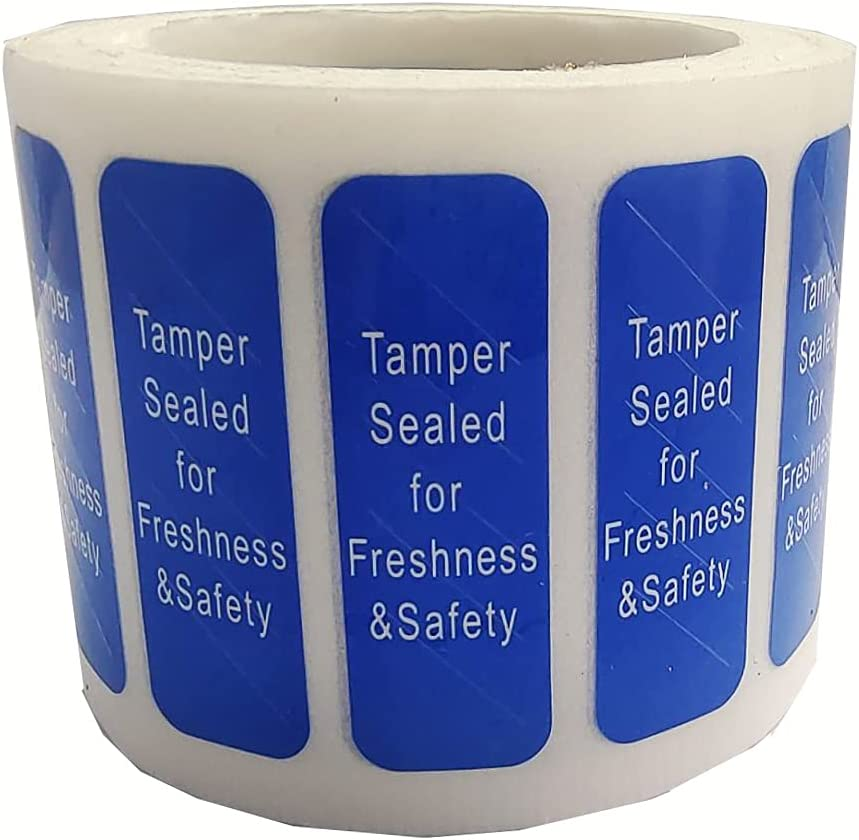 Blue Tamper Proof Resistant Evident Labels 0.5X1.5 inch Tamper Sealed for Freshness and Safety Food Delivery Stickers for Tamper Tape Food-Safety Seal Food Containers Bags 500pcs