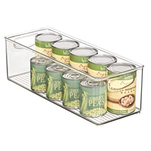 "mDesign Extra Long Plastic Kitchen Pantry, Cabinet, Refrigerator, Freezer Food Storage Organizing Bin Basket with Handles - Organizer for Fruit, Vegetables, Yogurt, Snacks, Pasta - 6"" Wide - Clear"