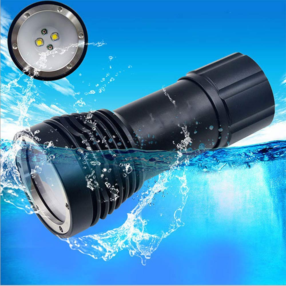 TQ Wasserdichte Taschenlampe, spezielle Taschenlampe tauchen, geführtes weißes Unterwasserlicht des roten Lichtes, Unterwasserphotographiefoto füllen helle Taschenlampe