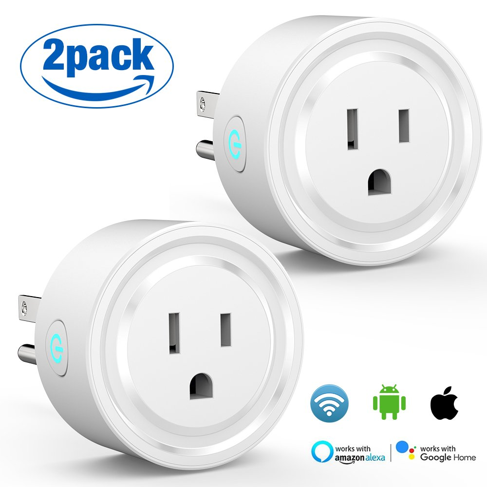 Wi-Fi Smart Plug, [2-Pack] Powerman Mini Wifi Outlets enabled Remote Control Smart Socket with Timer Function Works with Alexa, Echo and Google Home, ETL Listed, No Hub Required, 10 A (White)