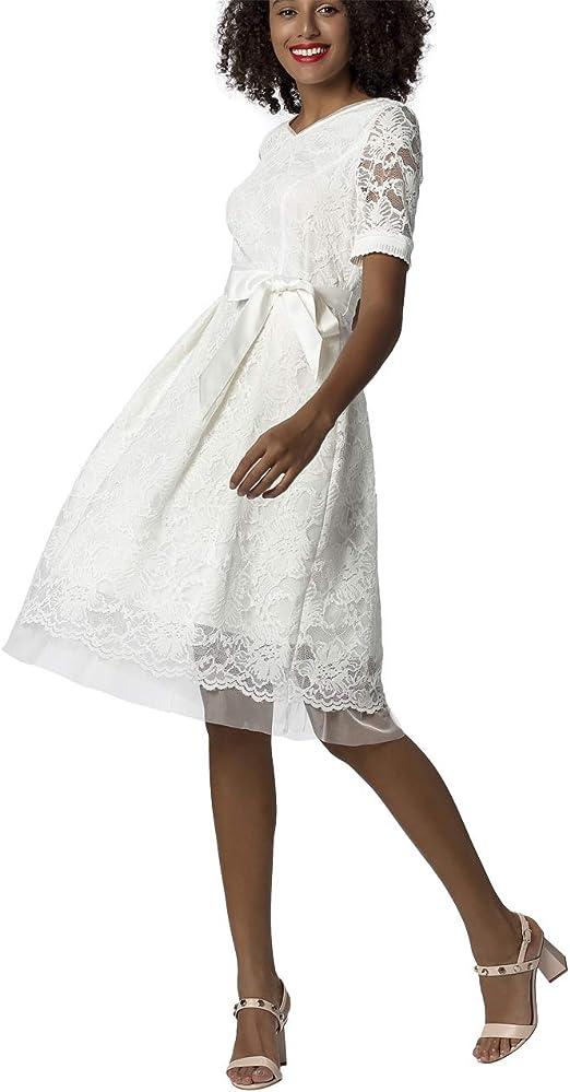 mit Satin-Bindeg/ürtel ausgestellte Form aus Spitze und Mesh Brautkleid APART Elegantes Damen Kleid Farbton: Cr/ème