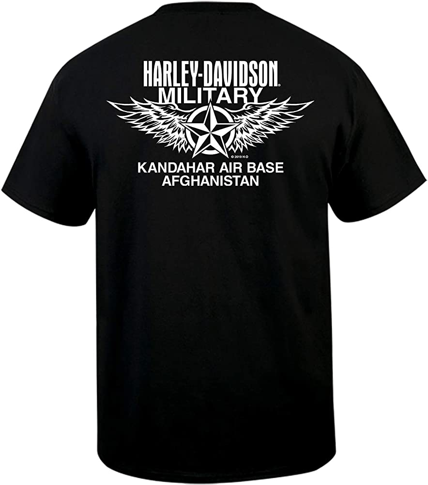 NAS Sigonella Wave Harley-Davidson Military Mens Short-Sleeve Graphic T-Shirt