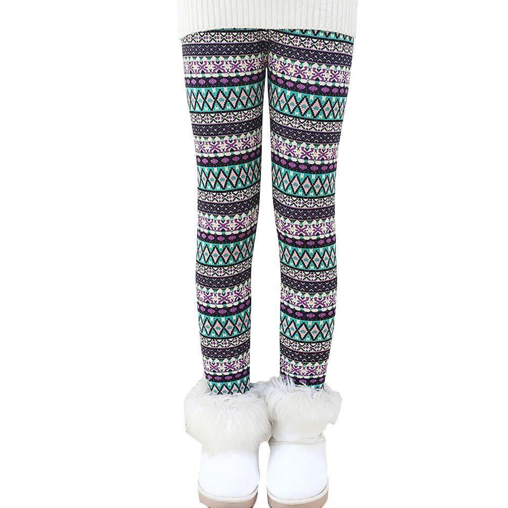 Hongma Hiver Filles Leggings Collants Pantalons Thermique Minceur Jambi/ères Multicolore Elastique Chaud Imprim/é Confortable Doux