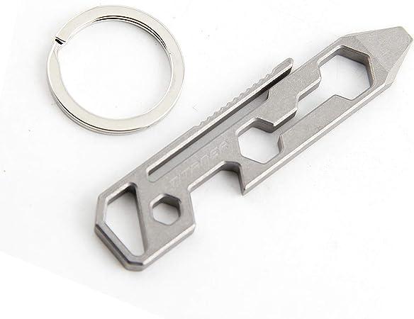 Titanium Pry Bar Wrench Opener Screw Driver Multi-function Tools Keychain EDC