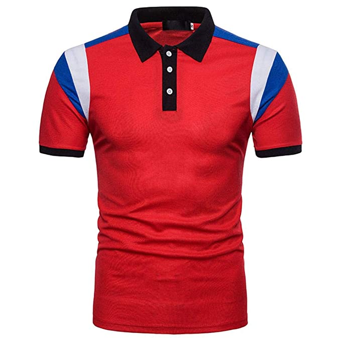 Resplend La Blusa Superior de la Manga Corta de la Camiseta del Remiendo Delgado Ocasional de