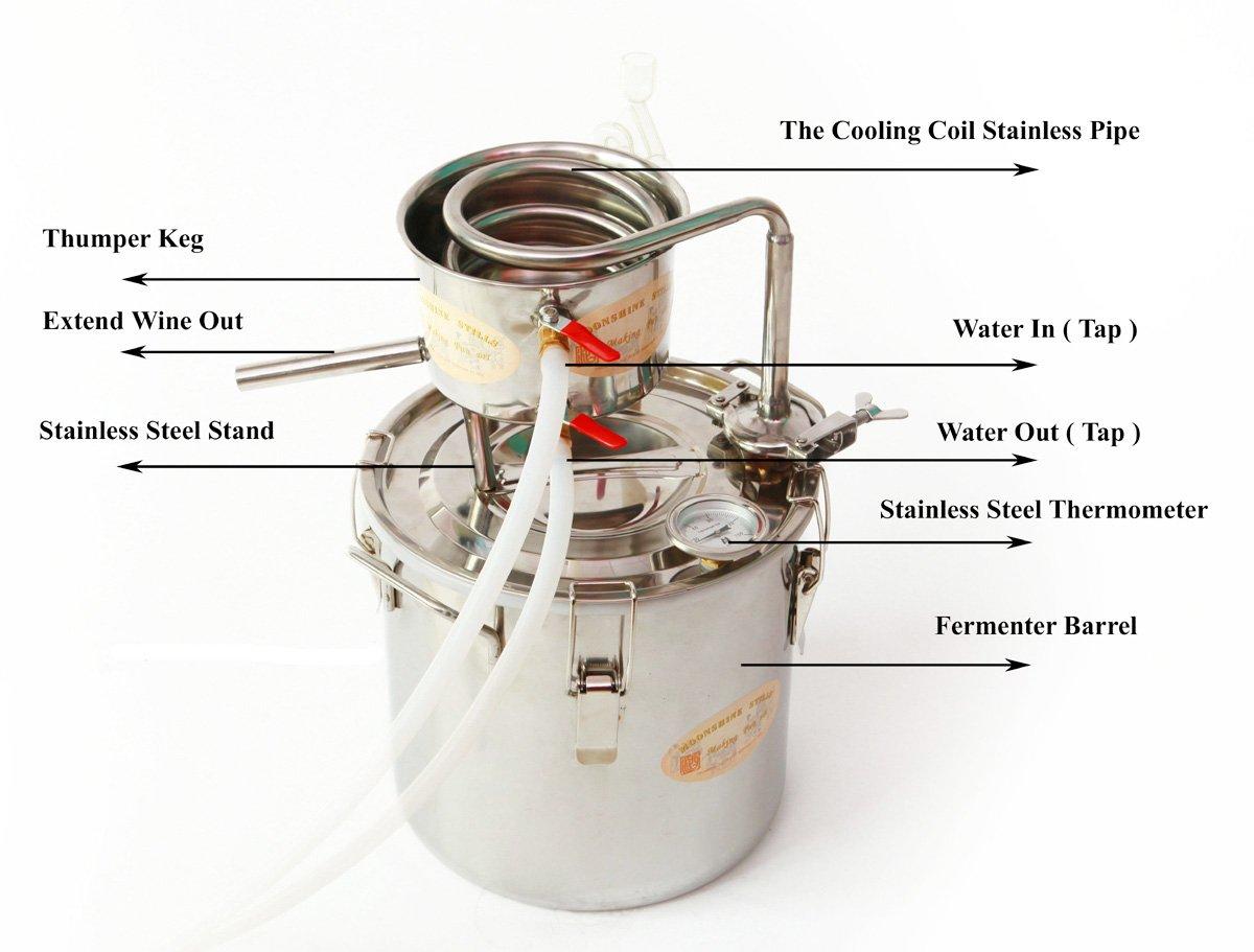 DIY 2 Gal 10 Liters Home Alcohol Whiskey Distiller Moonshine Still Stainless Steel Boiler Wine Making Kit by WMN_TRULYSTEP (Image #2)