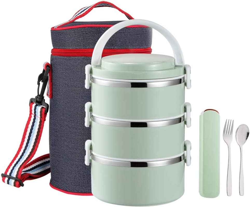 YBOBK HOME Thermal Lunch Box, Stackable Round Metal Stainless Steel Large Hot Food Bento Boxes for Adults, Lunch Container with Insulated Lunch Bag and Flatware with Case for Hot Lunch (3-Tier, Green)