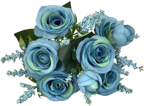 Vowua Fleur Artificielle Fleur Complete Classique Rose Bouquet