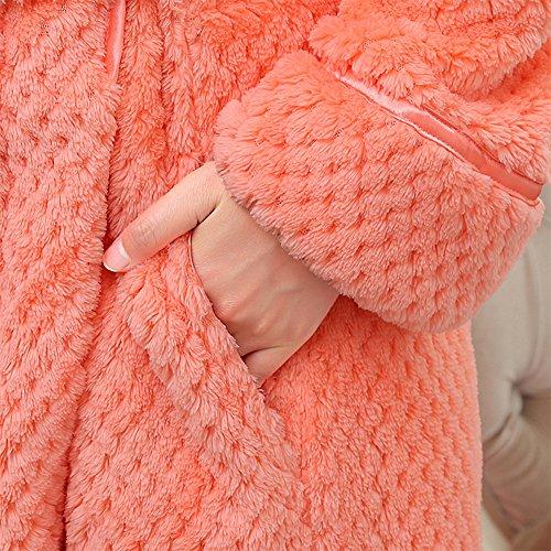 Orange Unisex Accappatoio con Caldo Lungo Taglio dal Vestaglia Donna Colletto Cintura Adulto qZvSwqgp