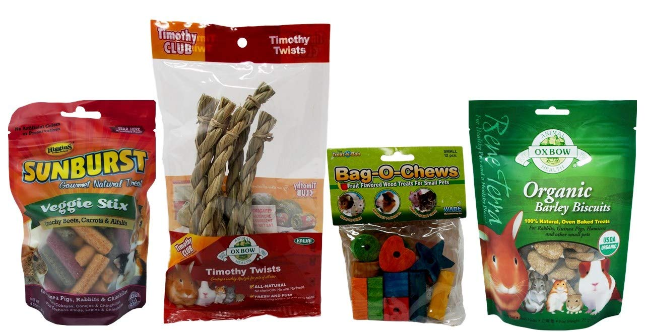Oxbow Higgins Ware Small Animal Chews/Treats 4 Flavor Variety Bundle (1) Each: Veggie Stix, Timothy Twists, Bag-O-Chews, Barley Biscuits