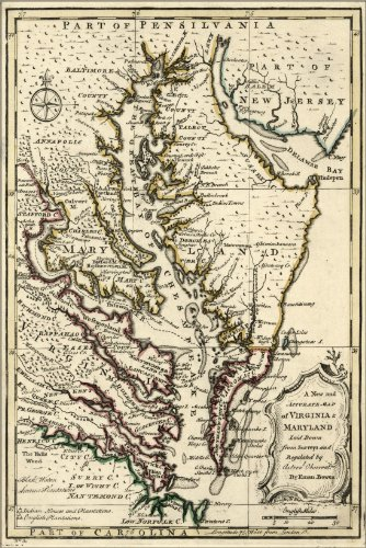 24x36 Poster; Map Of Virginia & Maryland 1752; Antique (Virginia Antique Map)