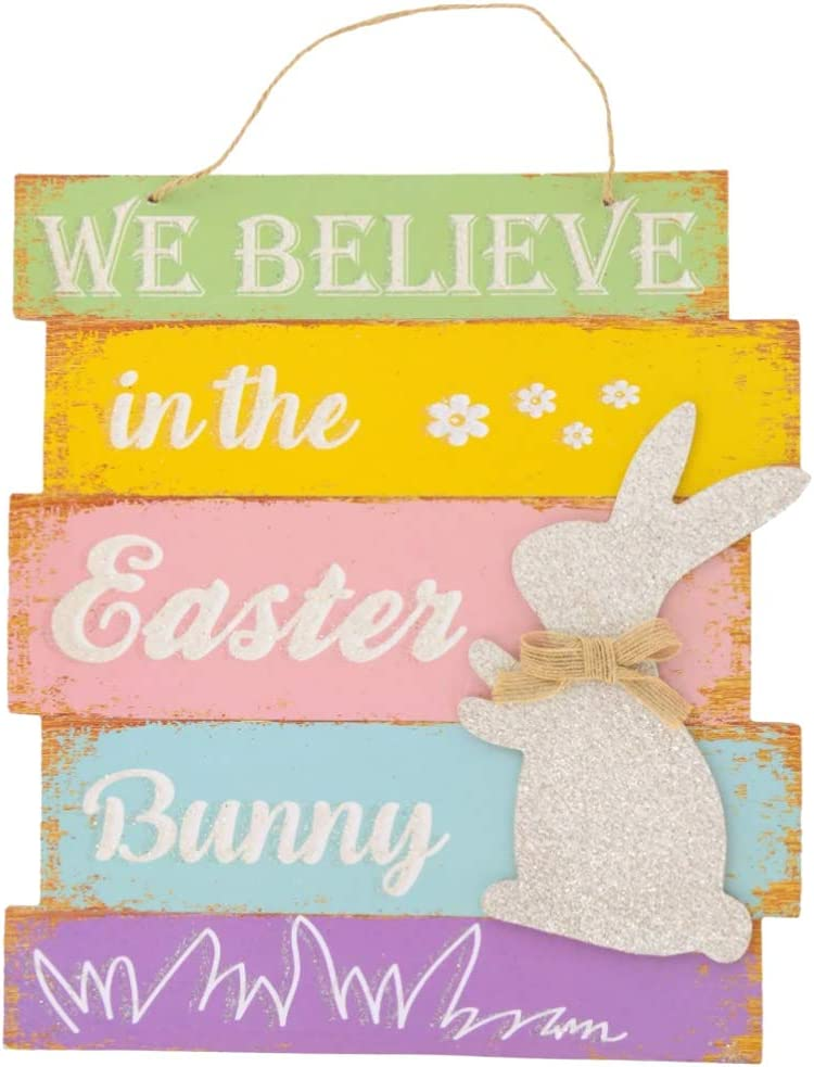 Muchai Innovations Happy Easter Wall Art Sign with Saying | Home Decor Spring Bunny Hanging Holiday Decoration for Wall or Door - 11 X 10 inches (Believe)