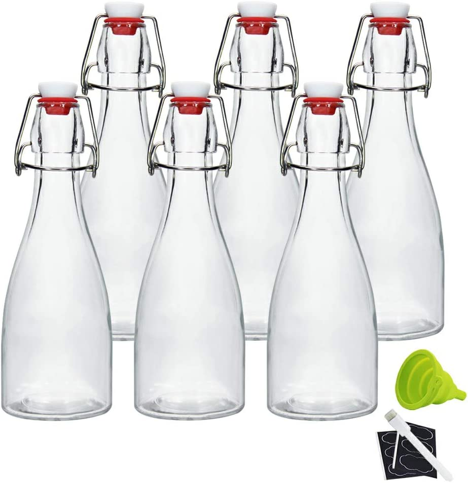 12oz Clear Swing Top Bottles -Glass Beer Bottle with Airtight Rubber Seal Flip Caps for Home Brewing Kombucha,Beverages,Oil,Vinegar,Water,Soda,Kefir (6 Pack)