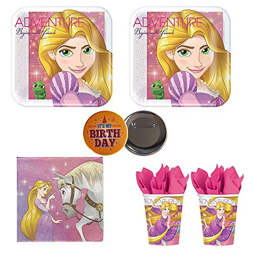 RDC Rapunzel Dream Big Tangled Birthday Party supplies for 16 guests -small plates, napkins, cups