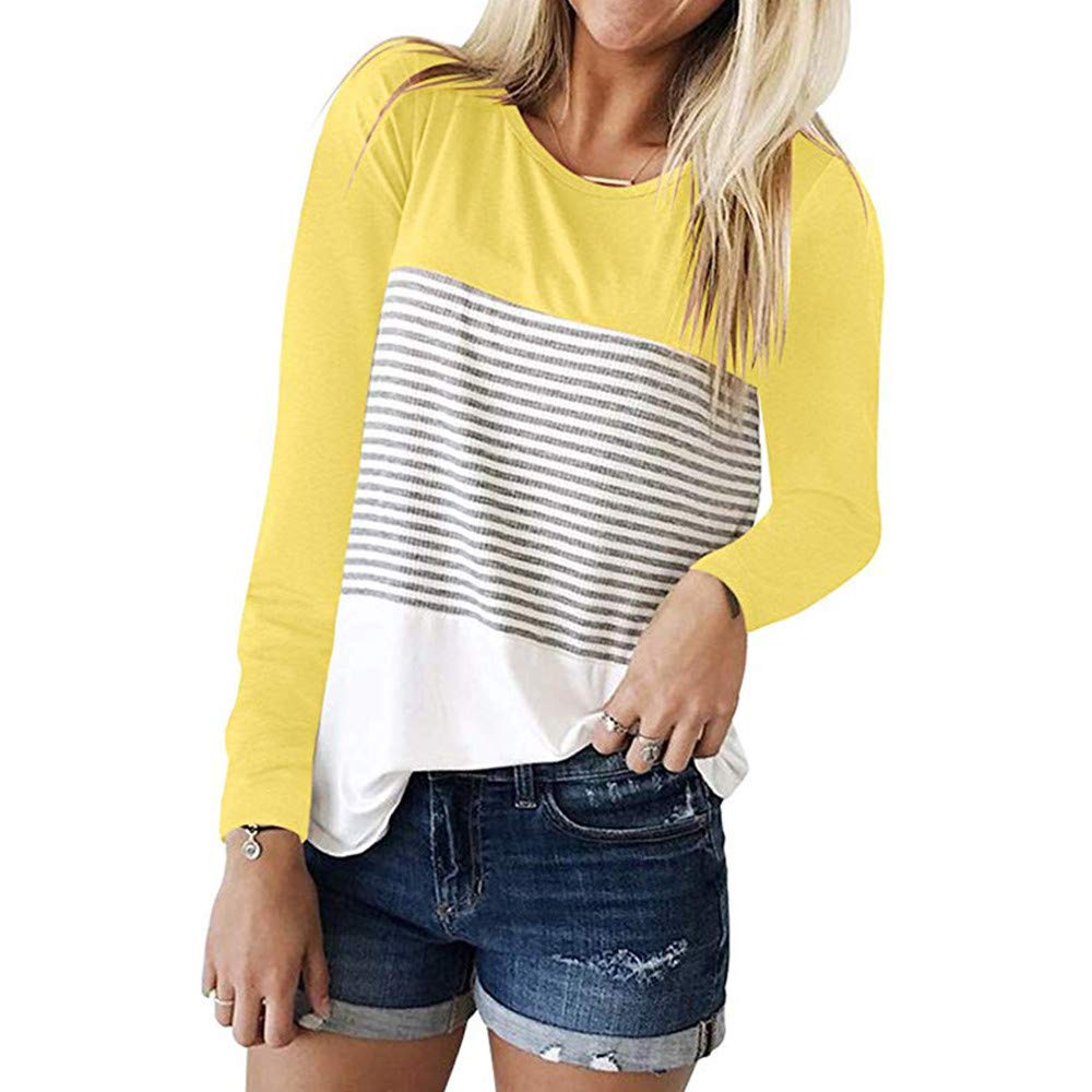Gergeos Women T-shirts Color Block Patchwork Stripet Long Sleeve Casual Tops(Yellow,XL)