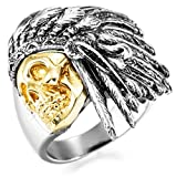 MOWOM Silver Gold Two Tone Stainless Steel Ring Native American Indian