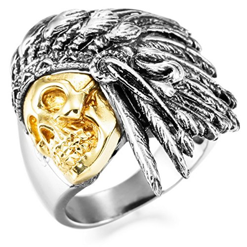 Indian Ring (MOWOM Silver Gold Two Tone Stainless Steel Ring Native American Indian Size 11)