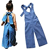 bca07a4e023f Yoveme Toddler Baby Girl Summer Clothes Overalls Backless Jeans Denim  Suspenders Outfit Bell-Bottom Blue