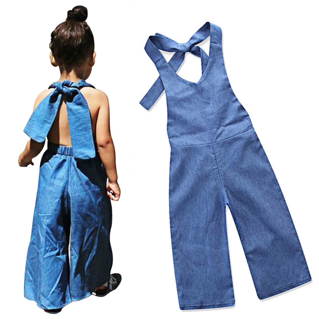 Yoveme Toddler Baby Girl Summer Clothes Overalls Backless Jeans Denim Suspenders Outfit Bell-Bottom Blue Pants
