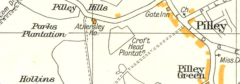 YORKSHIRE.Birdwell,Pilley,Hermit Hill,Bromley,Broom Royd Wd,Tankersley 1935 map