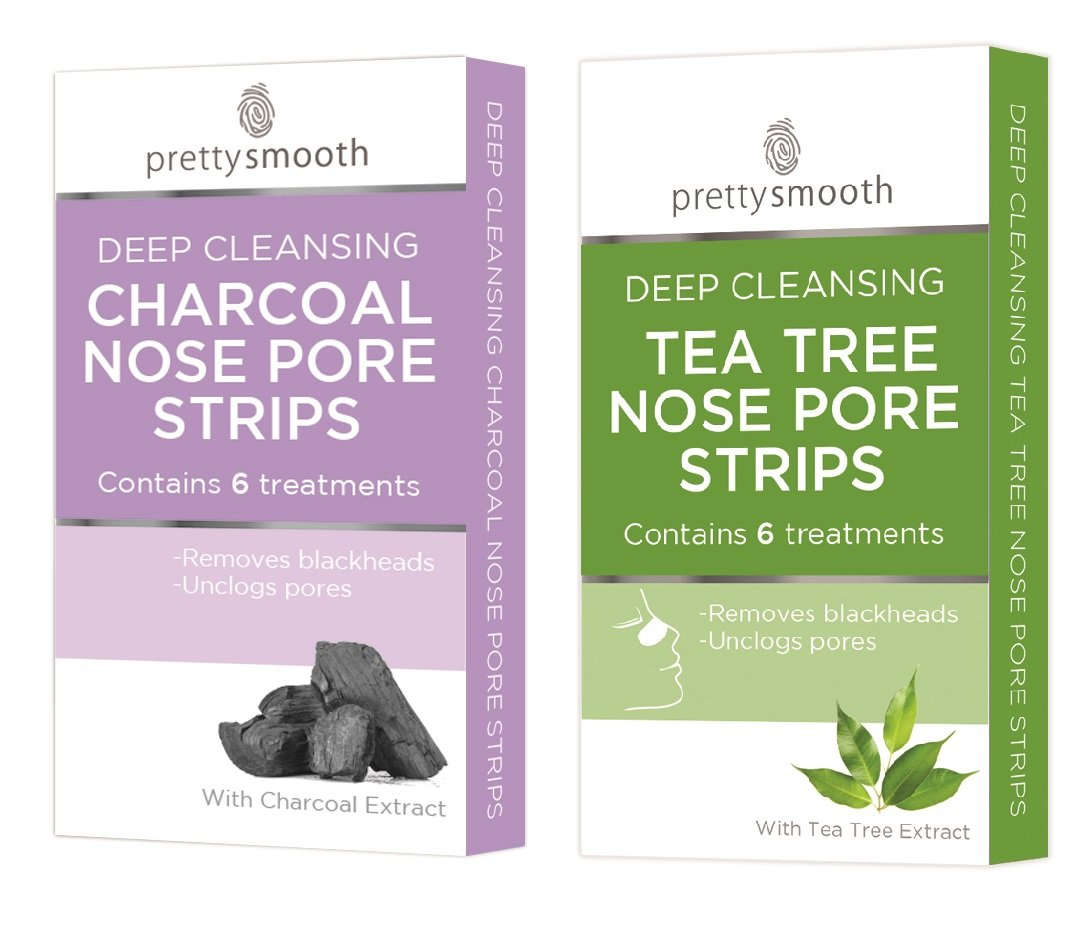 Pretty Tea Tree & Charcoal Nose Pore Strips Set - 2 x Packs of 6 - Deep Cleansing, Remove Blackheads & Unclog Pores Quest