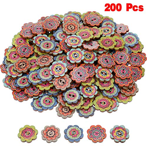 Flower Button - 200 Pieces Wooden Decorative Buttons Mixed Round Flower Button with 2 Holes for Sewing Crafting (Style 3, 20 mm)
