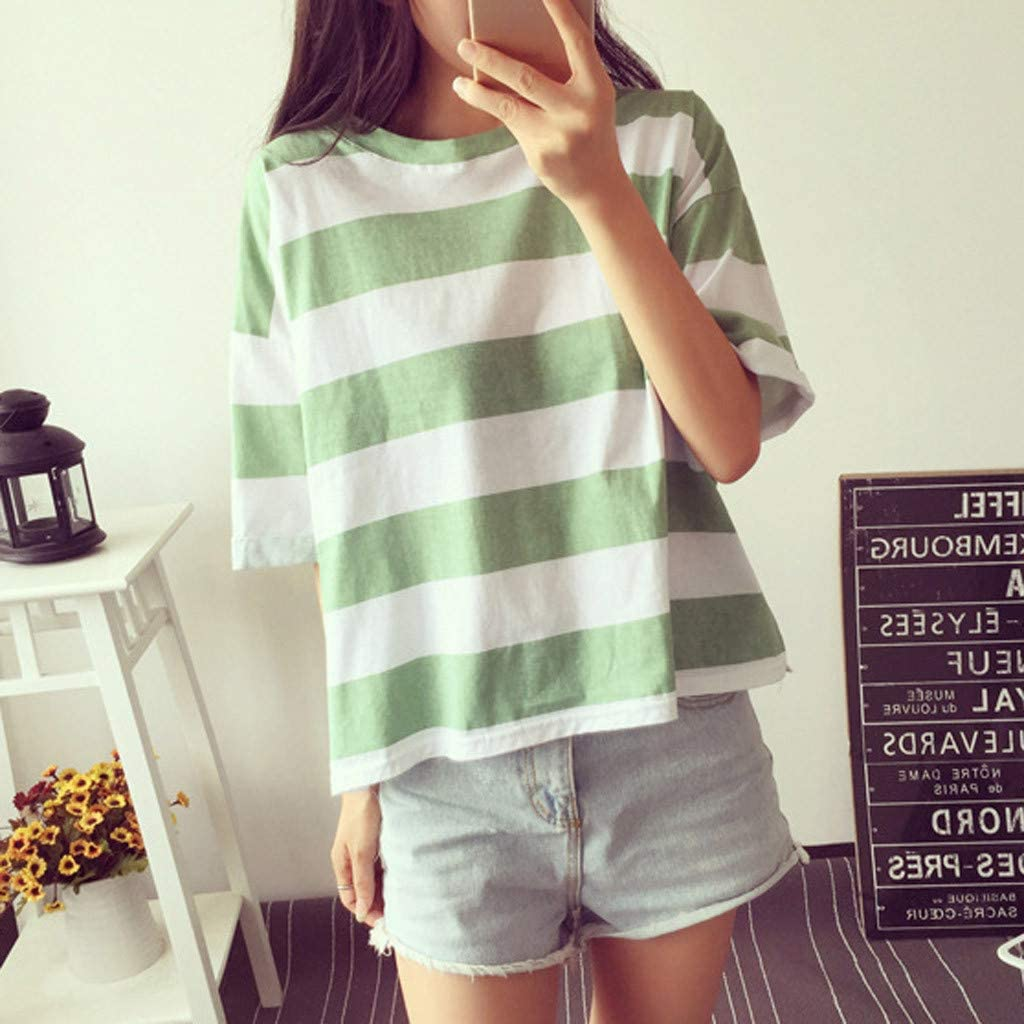 Teresamoon Womens Stripe Sweatshirt O Neck Tops Short Sleeve T-Shirt Tee Summer Casual Tops