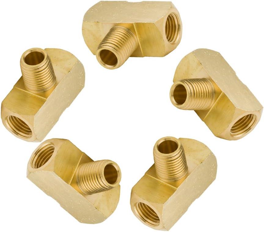 Barstock Male Branch Tee Vis Brass Pipe Fitting 1//8 NPT Female x 1//8 NPT Male x 1//8 NPT Female Pack of 5