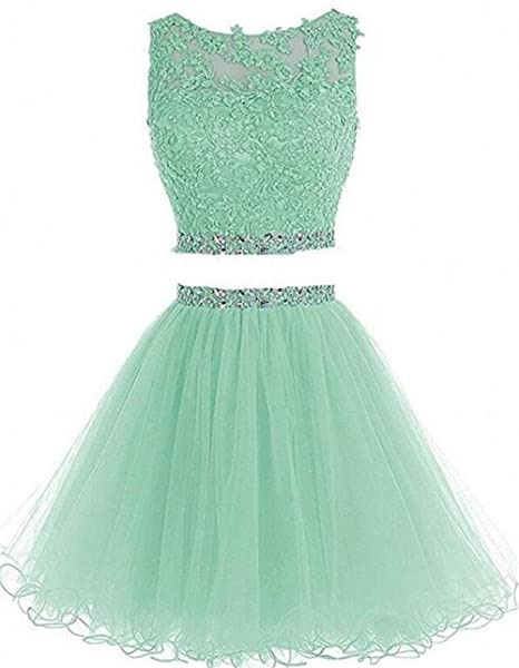 Dydsz Short Prom Dress Homecoming Party Dresses 2 Piece for Women Juniors Cocktail Gown A Line D127 Mint 4