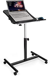 Tatkraft Vanessa Adjustable Laptop Stand with Wheels, Rolling Ergonomic Table with Mouse Pad, Black