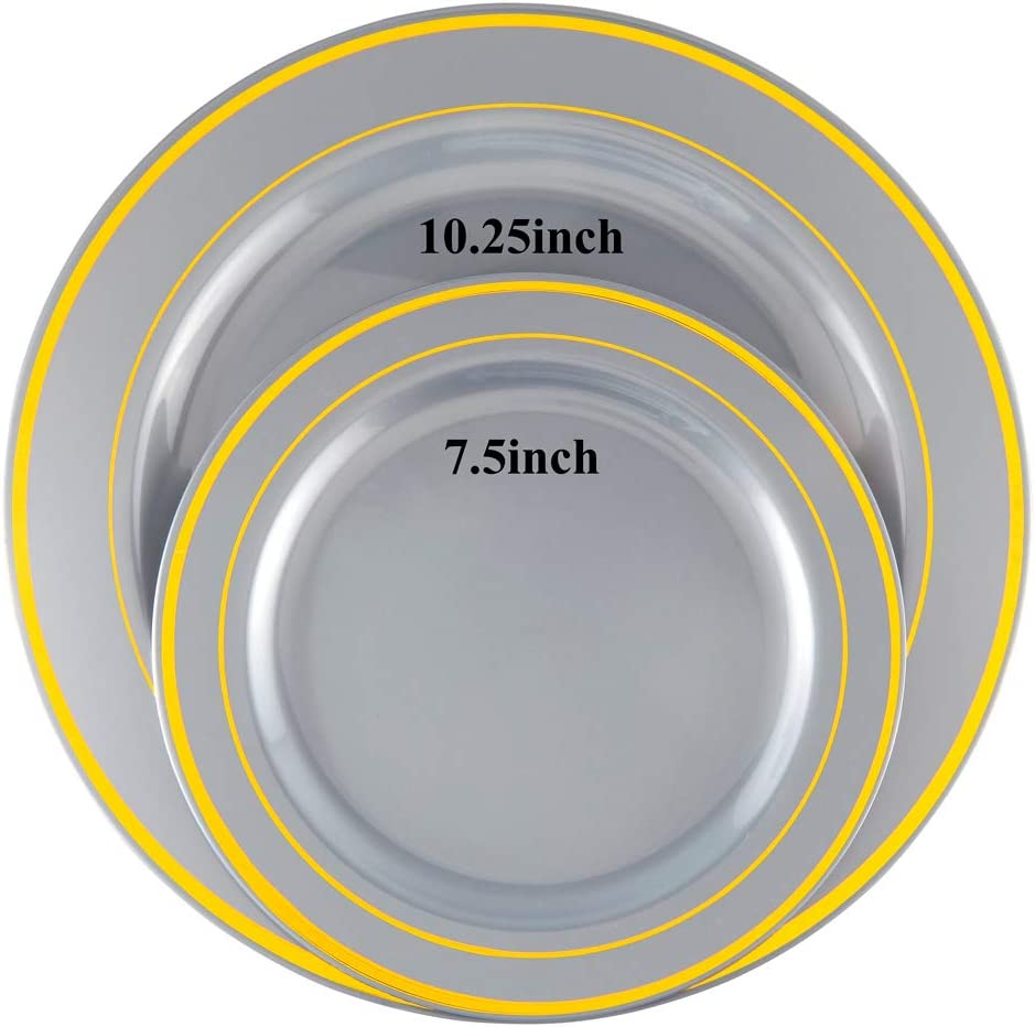 Exquisite Silver Disposable Plates Include 51 Dinner Plates 10.25 Inch and 51 Salad//Dessert Plates 7.5 Inch 102 PCS Gold Rimmed Plastic Plates