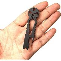 Nurbo Multi-function Skull EDC Tool Pocket Stainless Steel Key Ring Bottle Opener (Black)