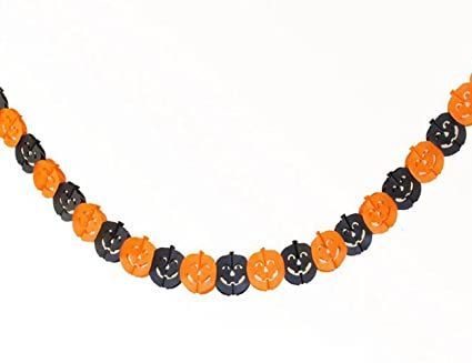 lohome 3pcs 3m10ft halloween paper pumpkin string chain garland decorations halloween props