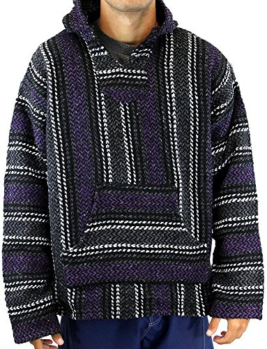 Baja Joe Striped Woven Eco-Friendly Jacket Coat Hoodie (Purple, Small)