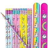 Unicorn & Rainbows Pencils With Eraser 24 Pack and 2 Unicorn Slap Bracelet | Great for School Teacher Student Classroom Supplies | Party Favor Gift Set