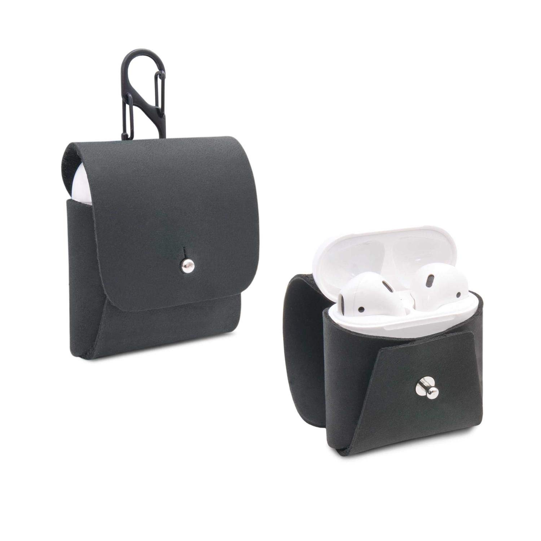 Etui f/ür kabellose Kopfh/örer aus schwarzem Leder made in Germany THEWO Apple AirPods tragbare H/ülle MALU