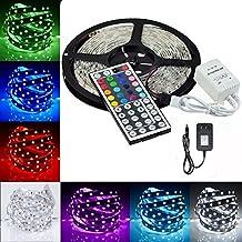 KAPATA 16.4ft 5M Waterproof Flexible strip 150leds Color Changing RGB SMD5050 LED Light Strip Kit RGB + 44Key Remote + 12V 3A Power Supply