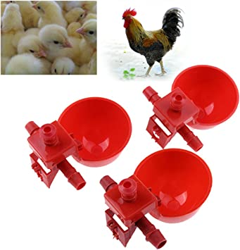 5pcs Chicken Poultry Water Drinker Cup Coop Bowl Automatic Pigeon Farm Feeder