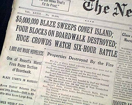 Island Dreamland Coney (CONEY ISLAND Dreamland Amusement Park & Boardwalk FIRE Disaster 1932 Newspaper THE NEW YORK TIMES, July 14, 1932)