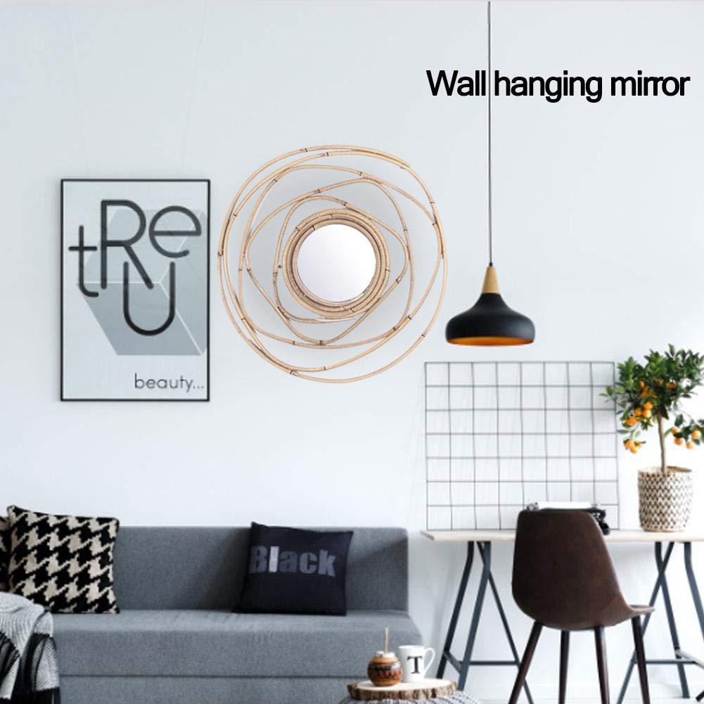 Rattan Spiegel Wandspiegel Wicker H/änge-Spiegel Nordic Rattan Handgefertigte Runde H/änge-Spiegel Bambus Rattanspiegel Fotografie Ornamente
