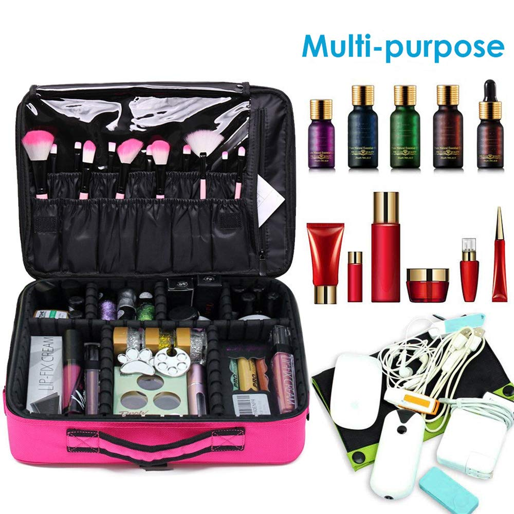 4a0dda3f1 Lukovee Estuche de maquillaje de viaje, Profesional Bolsa de maquillaje  cosmético Organizador Cajas de maquillaje Artista portátil Bolsa de  almacenamiento ...