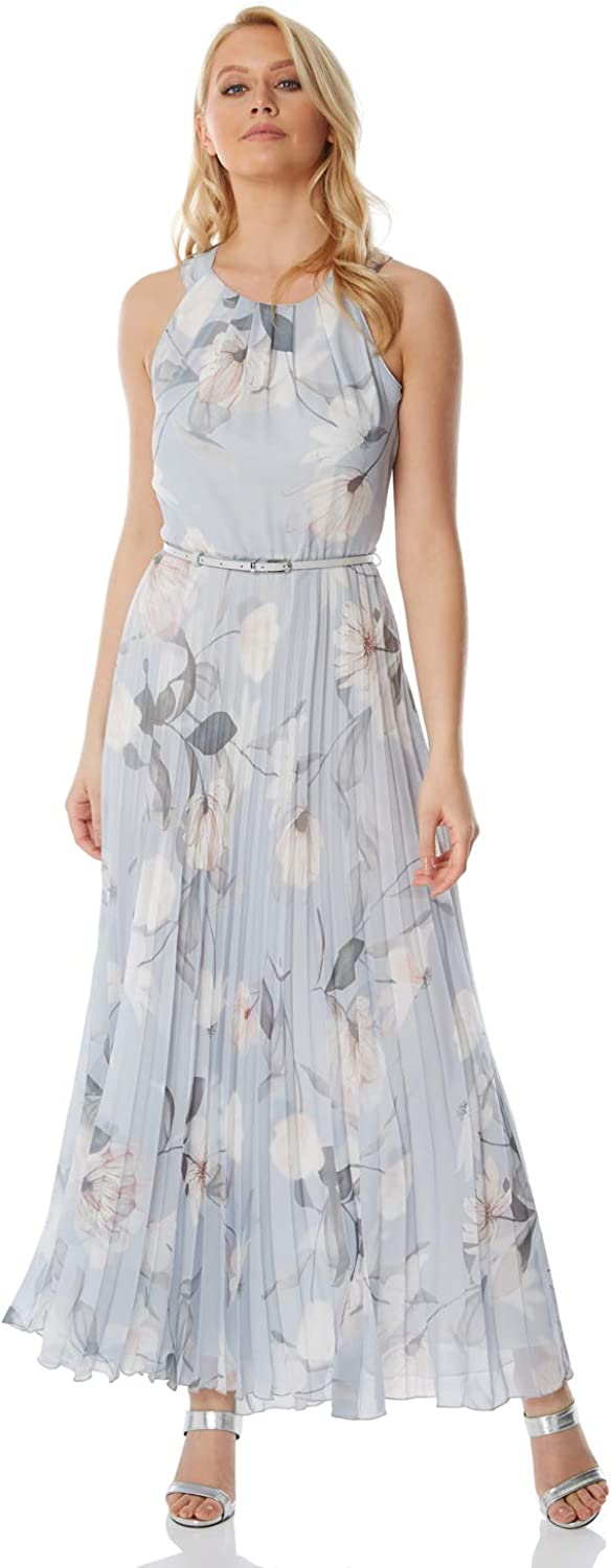 Roman Originals Womens Sleeveless Floral Pleated Maxi Dress Evening Formal Wedding Guest Bridemaids Party Special Occasion Wear Dresses