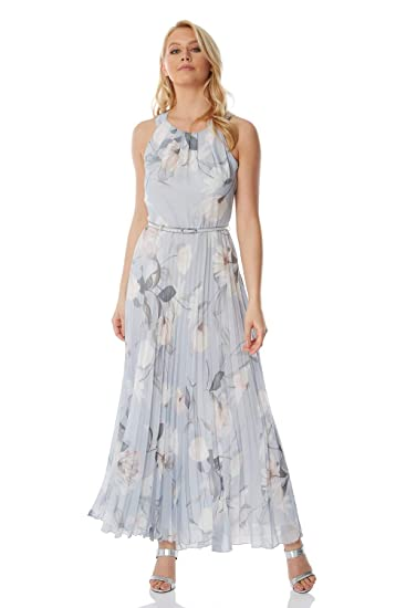 Roman Originals Women S Sleeveless Floral Pleated Maxi Dress Evening Formal Wedding Guest Bridemaids Party Special Occasion Wear Dresses