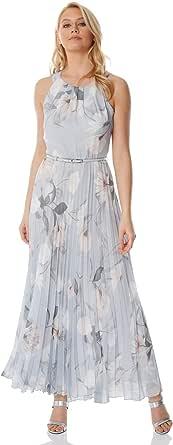 Roman Originals - Vestido largo plisado sin mangas para mujer, sin mangas, floral, para boda, fiesta, ocasión especial