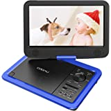 """COOAU 12.5"""" Portable DVD Player with Eye-Protected HD Swivel Screen, 5-Hours Rechargeable Battery, Support Region Free, USB/SD Card, Sync Screen Playing, Blue"""