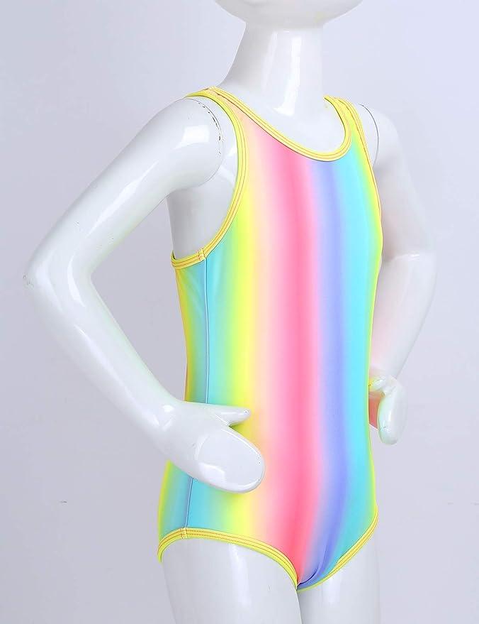 inlzdz Maillot de Bain Une pi/èce pour Enfant Fille Tankini Arc en Ciel Combinaison de Natation sans Manches Anti UV Costume de Plong/ée de Bain Bodysuit Swimsuit Tenue de Plage Vacances Fille Ados 7-16