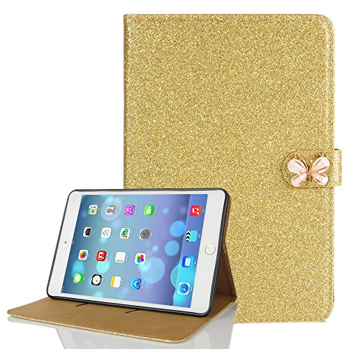 iPad Air 2 Bling Case, Luxury Bling Glitter PU Leather Auto & Awake Flip Wallet Case Beautiful Butterfly Buckle Magnetic Closure with Card Slots Stand Viewing Function Case Smart Cover-Gold