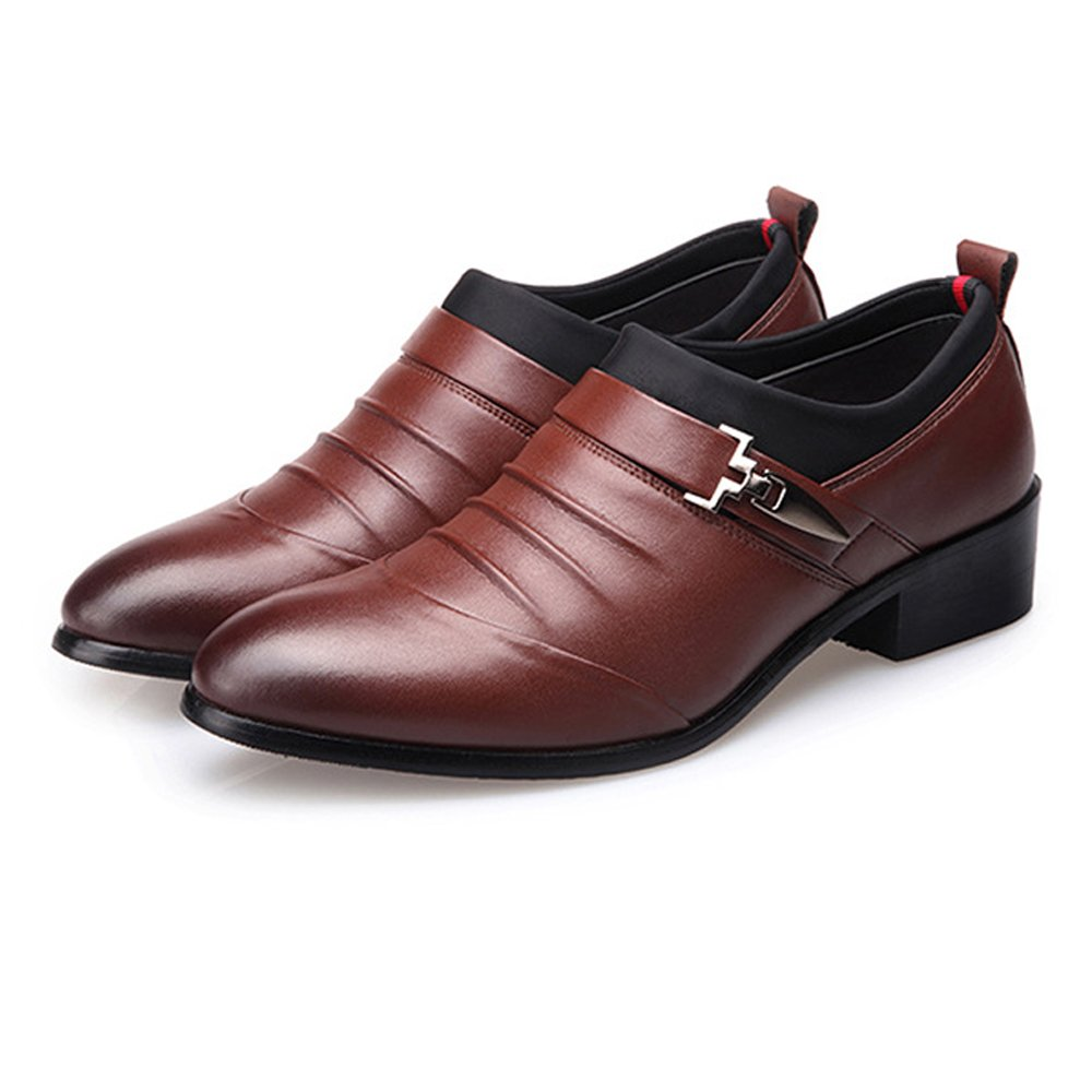 MUMUWU Mens Business Shoes Matte PU Leather Splice Upper Slip-on Breathable Lined Oxfords Dress Shoes