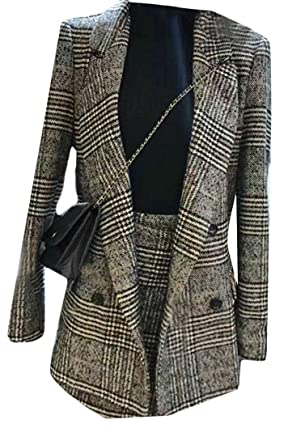 Bigbarry Women Houndstooth Double Breasted Suit Coat Skirt Blazer